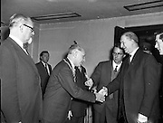 28/10/1957<br /> 10/28/1957<br /> 28 October 1957<br /> Opening of the Skal International Congress at the Gresham Hotel, Dublin. Skål is a professional organisation of tourism leaders around the world founded in 1932. President Eamon de Valera being greeted on arrival at the conference.