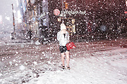 Snow in Times Square, New York, Thursday, Feb. 9, 2017. Photograph by Andrew Hinderaker<br /> 170209_094032_HIA6334.jpg