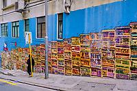 Chine, Hong Kong, Hong Kong Island, quartier branché de Soho, Hollywood road, peinture murale dans Graham Street // China, Hong Kong, Hong Kong Island, Soho in Hollywood road, wall painting on Graham street