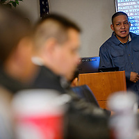 Nephi Chato talks about his time interning with the City of Gallup during a presentation for his mentors and instructors Monday at the University of New Mexico-Gallup campus.