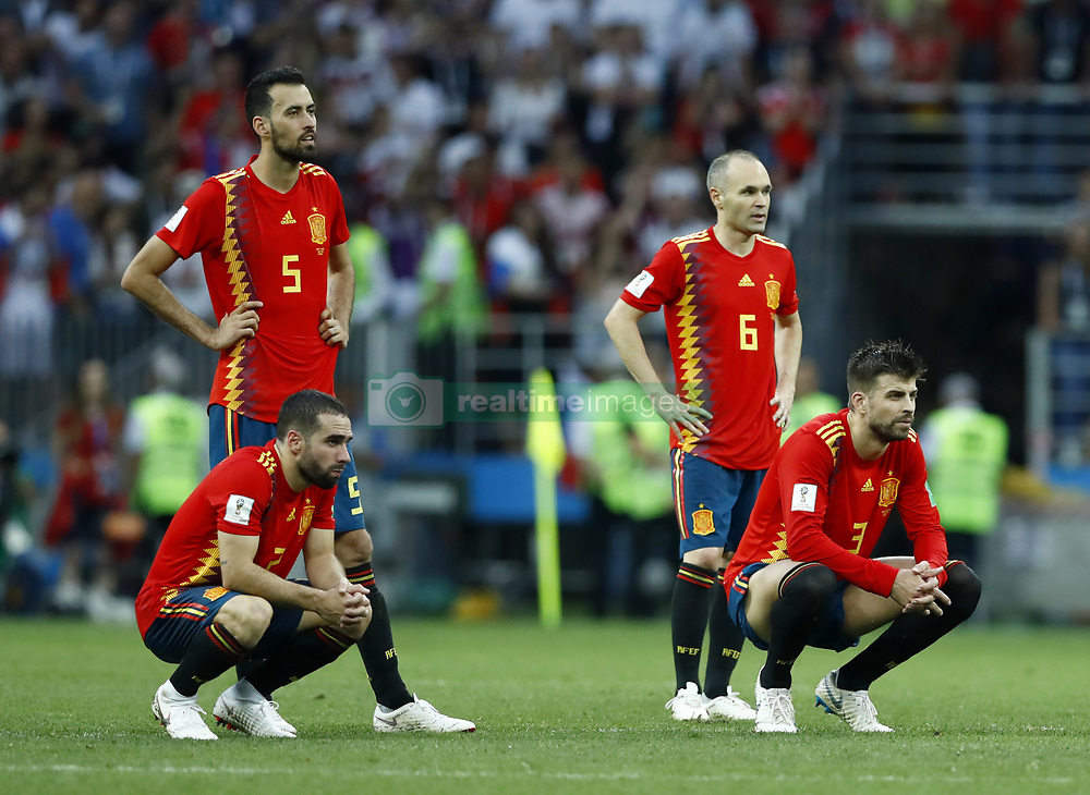 July 1, 2018 - Moscow, Russia - Round of 16 Russia v Spain - FIFA World Cup Russia 2018.Busquests, Carvajal, Pique and Iniesta (Spain) disappointment during the penalties at Luzhniki Stadium in Moscow, Russia on July 1, 2018. (Credit Image: © Matteo Ciambelli/NurPhoto via ZUMA Press)