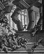 Samson, Israelite hero, betrayed by Delilah, taken prisoner and blinded by Phillistines, regains his strength and brings the Temple of Dagon crashing down. Judges. Illustration Gustave Dore (1832-1883) FDrench painter and illustrator for 'The Bible' (London 1866). Wood engraving.