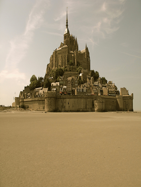 Distant view of Mont Saint-Michel, a tidal island in the Normandy region of France