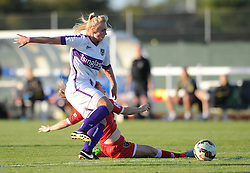 Christie Murray of Bristol Academy tackles Oxford United's Rosie Lane - Mandatory byline: Dougie Allward/JMP - 07966386802 - 27/08/2015 - FOOTBALL - Stoke Gifford Stadium -Bristol,England - Bristol Academy Women FC v Oxford United Women - FA WSL Continental Tyres Cup