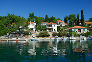 Modern houses and boats, village of Vrboska, island of Hvar, Croatia