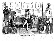 """Encouragement of Art. First curled and powdered darling (to photographer). """"You'd better take pains with these 'ere Carte de Visites, as they'll be a good deal shown about."""" Second curled and powdered darling (on the sofa). """"Yes - pertikerlerly in the hupper suckles. - Get you customers, you know."""""""