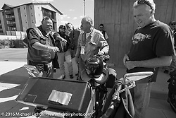 The oldest Motorcycle Cannonball rider on the earliest bike - Victor Boocock talks to visitors about his 1914 Harley-Davidson at the Rocky Mountain Motorcycle Museum and Pikes Peak Harley-Davidson at a hosted lunch stop during Stage 9 (249 miles) of the Motorcycle Cannonball Cross-Country Endurance Run, which on this day ran from Burlington to Golden, CO., USA. Sunday, September 14, 2014.  Photography ©2014 Michael Lichter.