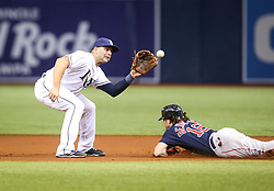September 15, 2017 - St. Petersburg, Florida, U.S. - WILL VRAGOVIC   |   Times.Tampa Bay Rays second baseman Danny Espinosa (8) makes the catch on the throw by catcher Wilson Ramos (40) to beat Boston Red Sox left fielder Andrew Benintendi (16) attempting to steal second base in the first inning of the game between the Boston Red Sox and the Tampa Bay Rays at Tropicana Field in St. Petersburg, Fla. on Friday, Sept. 15, 2017. (Credit Image: © Will Vragovic/Tampa Bay Times via ZUMA Wire)
