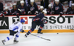 Ville Peltonen (16) of Finland and David Booth (7) of USA at play-off round quarterfinals ice-hockey game USA  vs Finland at IIHF WC 2008 in Halifax,  on May 14, 2008 in Metro Center, Halifax, Nova Scotia,Canada. Win of Finland 3 : 2. (Photo by Vid Ponikvar / Sportal Images)