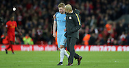 Manchester City Manager Pep Guardiola and Kevin De Bruyne of Manchester City react after the English Premier League match at Anfield Stadium, Liverpool. Picture date: December 31st, 2016. Photo credit should read: Lynne Cameron/Sportimage