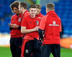CARDIFF, WALES - Monday, October 9, 2017: Wales' Ben Woodburn on the pitch before the 2018 FIFA World Cup Qualifying Group D match between Wales and Republic of Ireland at the Cardiff City Stadium. (Pic by Paul Greenwood/Propaganda)