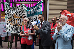 London, UK. 5th July, 2021. Dr Onkar Sahota addresses health workers and supporters at a rally organised by Doctors in Unite outside the Department of Health and Social Care. The rally was organised to mark the 73rd birthday of the National Health Service and in protest against the sale of one of the UK's biggest GP practice operators to the US health insurance group Centene Corporation.