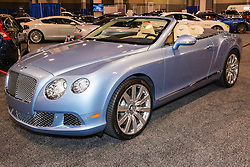 CHARLOTTE, NORTH CAROLINA - NOVEMBER 20, 2014: Bentley Continental GT Convertible on display during the 2014 Charlotte International Auto Show at the Charlotte Convention Center.