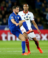 Daniel Drinkwater of Leicester City hooks the ball over Steven N'Zonzi of Sevilla - Mandatory by-line: Robbie Stephenson/JMP - 14/03/2017 - FOOTBALL - King Power Stadium - Leicester, England - Leicester City v Sevilla - UEFA Champions League round of 16, second leg