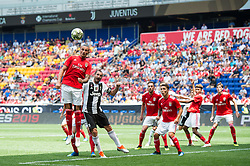July 28, 2018 - Harrison, New Jersey, United States - Juventus defender GIORGIO CHIELLINI (3) loses a header to SL Benfica defender during the International Champions Cup at Red Bull Arena in Harrison, NJ.  Juventes vs Benfica (Credit Image: © Mark Smith via ZUMA Wire)