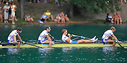 Bled, SLOVENIA.  GBR LM4- Bronze Medalist, Bow Richard CHAMBERS, Chris BARTLEY,Paul MATTICK and Rob WILLIAMS. Final Lightweight Men's Four.  2011 FISA World Rowing Championships, Lake Bled. Friday  02/09/2011  [Mandatory Credit; Peter Spurrier/ Intersport Images]
