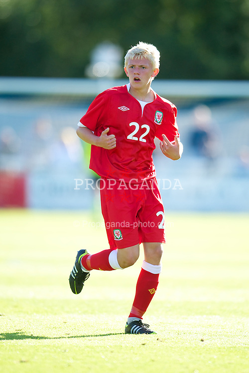 BANGOR, WALES - Thursday, August 30, 2012: Wales' Nathan Mathias in action against Poland during the International Friendly Under-16's match at the Nantporth Stadium. (Pic by David Rawcliffe/Propaganda)