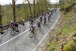 Anouska Koster in the bunch at the Liege-Bastogne-Liege Femmes - a 135.5 km road race between Bastogne and Ans on April 23 2017 in Liège, Belgium.