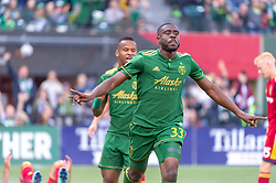 October 21, 2018 - Portland, OR, U.S. - PORTLAND, OR - OCTOBER 21, 2018: Portland Timbers defender Larrys Mabiala author of the first goal of the  the Portland Timbers 3-0 victory over Real Salt lake on October 21, 2018, at Providence Park in Portland, Oregon. (Photo by Diego Diaz/Icon Sportswire) (Credit Image: © Diego Diaz/Icon SMI via ZUMA Press)