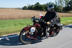 Bartek Mizerski riding his 1928 Indian Scout in the Motorcycle Cannonball coast to coast vintage run. Stage 6 (260 miles) from Bourbonnais, IL to Cedar Rapids, IA. Thursday September 13, 2018. Photography ©2018 Michael Lichter.