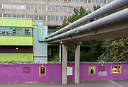 An urban landscape on the soon-to-be demolished Aylesbury Estate, on 4th September 2018, in Southwark, London, England. The Aylesbury Estate contained 2,704 dwellings in approximately 7500 residents and built between 1963 and 1977 and for decades it was seen as a symbol of the failure of British social housing. There were major problems with the physical buildings on the estate and the poor perception of estates in Britain as a whole have led to the Aylesbury Estate gaining the title of one of the most notorious estates in the United Kingdom. Demolition is in progress for the regeneration of the Aylesbury Estate to consist of 3,500 new homes, 50% of which, according to Southwark council, will be affordable.