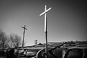 Calais, France, 27 feb 2015, Crosses of the tent that houses the orthodox church. Situation of the migrants in Calais, living in jungles.