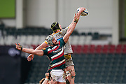 Wasps Back row James Gaskell beats Leicester Tigers lock Tomás Lavanini to win a line out during a Gallagher Premiership Round 10 Rugby Union match, Friday, Feb. 20, 2021, in Leicester, United Kingdom. (Steve Flynn/Image of Sport)