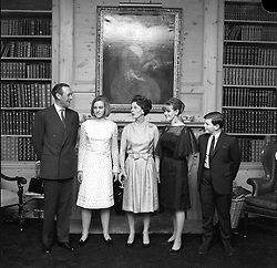 Left to right, Bruce Shand, Annabel Shand, Camilla Shand, her mother the Rosalind Shand and Mark Shand in March 1965.