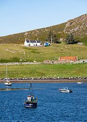 View of natural harbour at Old Dornie village Assynt Coigach region of Scottish Highlands, Scotland , UK