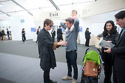 JOHNNIE BORRELL; ALEX FLICK; MIRA FLICK, Opening of Frieze 2009. Regent's Park. London. 14 October 2009 *** Local Caption *** -DO NOT ARCHIVE-© Copyright Photograph by Dafydd Jones. 248 Clapham Rd. London SW9 0PZ. Tel 0207 820 0771. www.dafjones.com.<br /> JOHNNIE BORRELL; ALEX FLICK; MIRA FLICK, Opening of Frieze 2009. Regent's Park. London. 14 October 2009