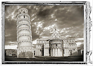 """""""At The Circus"""" a series of fine art abstract black and white photos. Fine art photography by art photographer Paul Williams .  The Leaning Tower of Pisa (torre pendente di Pisa) or simply the Tower of Pisa  is the campanile, or freestanding bell tower, of the cathedral of the Italian city of Pisa, known worldwide for its nearly four-degree lean, the result of an unstable foundation. The Leaning Tower of Pisa is situated behind the Pisa Cathedral and is the third-oldest structure in the city's Cathedral Square (Piazza del Duomo). The height of the Leaning Tower of Pisa is 55.86 metres (183.27 feet) from the ground on the low side and 56.67 metres (185.93 feet) on the high side. The width of the walls at the base is 2.44 m (8 ft 0.06 in). The Leaning Tower of Pisa has 296 or 294 steps; the seventh floor has two fewer steps on the north-facing staircase. The Leaning Tower of Pisa began to lean during construction in the 12th century, due to soft ground which could not properly support the structure's weight, and it worsened through the completion of construction in the 14th century. By 1990, the tilt of the tower had reached 5.5 degrees .<br /> <br /> Visit our ITALY HISTORIC PLACES PHOTO COLLECTION for more   photos of Italy to download or buy as prints https://funkystock.photoshelter.com/gallery-collection/2b-Pictures-Images-of-Italy-Photos-of-Italian-Historic-Landmark-Sites/C0000qxA2zGFjd_k<br /> .<br /> <br /> Visit our MEDIEVAL PHOTO COLLECTIONS for more   photos  to download or buy as prints https://funkystock.photoshelter.com/gallery-collection/Medieval-Middle-Ages-Historic-Places-Arcaeological-Sites-Pictures-Images-of/C0000B5ZA54_WD0s"""