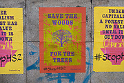 Stop HS2 environmental campaign posters on 30th March 2021 in Birmingham, United Kingdom. The Curzon Street Masterplan covers a 141 hectare area of regeneration, focussed on HS2 Curzon Street station in Birmingham city centre, combined with approximately 700 million in investment into the surrounding area including new homes and commercial developments. High Speed 2 is a partly planned high speed railway in the United Kingdom with its first phase in the early stages of construction, the second phase is yet to receive full approval and the third is subject to merging with Northern Powerhouse Rail, a separate project.