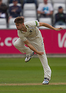 Chris Woakes (Warwickshire County Cricket Club) in bowling action during the LV County Championship Div 1 match between Durham County Cricket Club and Warwickshire County Cricket Club at the Emirates Durham ICG Ground, Chester-le-Street, United Kingdom on 14 July 2015. Photo by George Ledger.