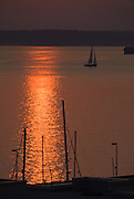 Sunset over Puget Sound, seen from downtown Seattle, Washington, USA.