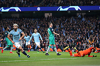 Football - 2018 / 2019 UEFA Champions League - Quarter-Final, Second Leg: Manchester City (0) vs. Tottenham Hotspur (1)<br /> <br /> Sergio Aguero of Manchester City celebrates scoring his sides fourth goal to make the score 4-2, at The Etihad.<br /> <br /> COLORSPORT/PAUL GREENWOOD