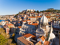 Aerial view of Cathedral of St. James and St Michael's fortress, Sibenik, Croatia.
