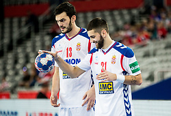Petar Nenadic of Serbia and Vanja Ilic of Serbia during handball match between National teams of Serbia and Belarus on Day 7 in Main Round of Men's EHF EURO 2018, on January 24, 2018 in Arena Zagreb, Zagreb, Croatia.  Photo by Vid Ponikvar / Sportida
