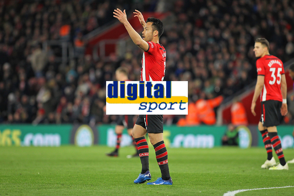 Football - 2018 / 2019 Premier League - Southampton vs. Liverpool<br /> <br /> Southampton's Maya Yoshida complains to the linesman after Liverpools equaliser at St Mary's Stadium Southampton<br /> <br /> COLORSPORT/SHAUN BOGGUST
