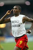 FOOTBALL - CONFEDERATIONS CUP 2003 - GROUP B - 030619 - BRASIL v KAMERUN - JOY SAMUEL ETO'O (CAM) AFTER HIS GOAL - PHOTO GUY JEFFROY /  DIGITALSPORT
