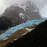 South America, Chile, Patagonia. Glaciers and fjords of the Magellenic Straights.