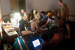 2nd Sept, 2005. New Orleans Louisiana.<br /> The 'press' room at the 'Hyatt from Hell.' Journalists and photographers turn out their stories in cramped, hot, dingy, stinking conditions where even the cockroaches died climbing up the walls! <br /> Photo; Charlie Varley/varleypix.com