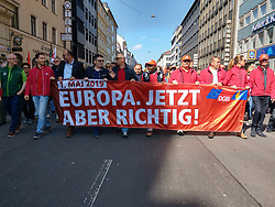 May 1, 2019 - Munich, Bavaria, Germany - Members of the DGB collective of workers' unions demonstrate through the streets of Munich, Germany. (Credit Image: © Sachelle Babbar/ZUMA Wire)