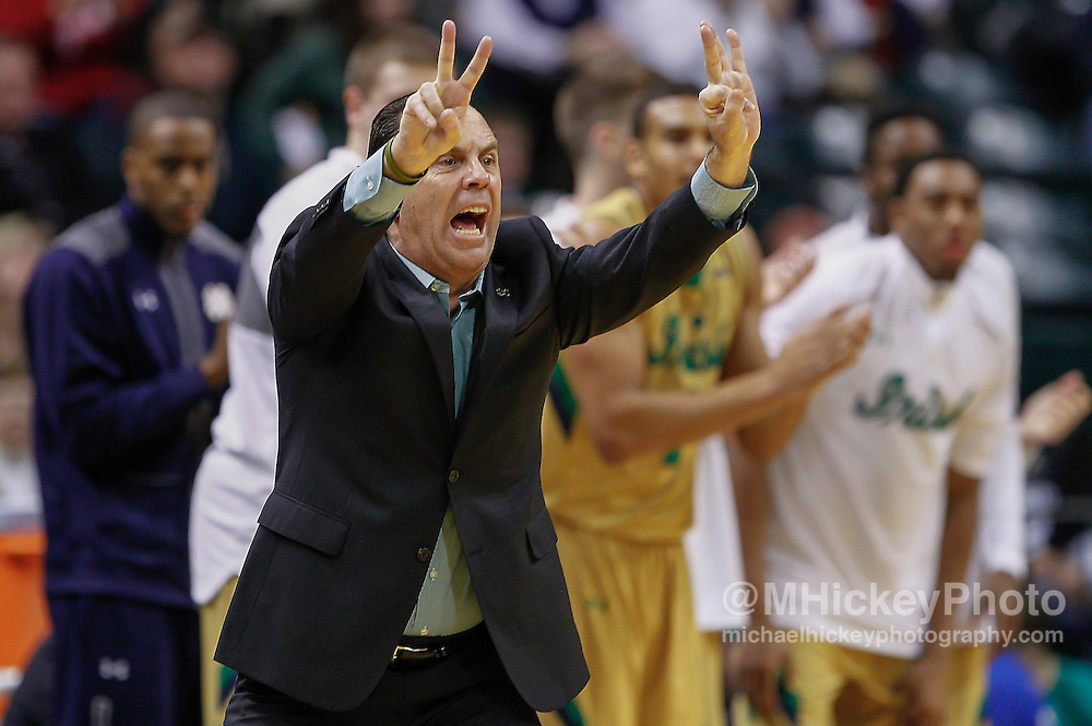 INDIANAPOLIS, IN - DECEMBER  20: Head coach Mike Brey of the Notre Dame Fighting Irish is seen during the game against the Purdue Boilermakers at Bankers Life Fieldhouse on December 20, 2014 in Indianapolis, Indiana. Notre Dame defeated Purdue 94-63. (Photo by Michael Hickey/Getty Images) *** Local Caption *** Mike Brey