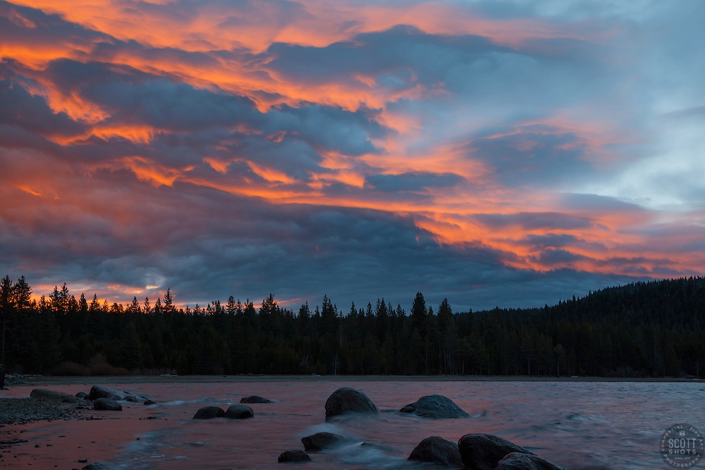 """""""Donner Lake Sunrise 11"""" - Photograph of an orange and blue sunrise shot from the north shore of Donner Lake in Truckee, California."""