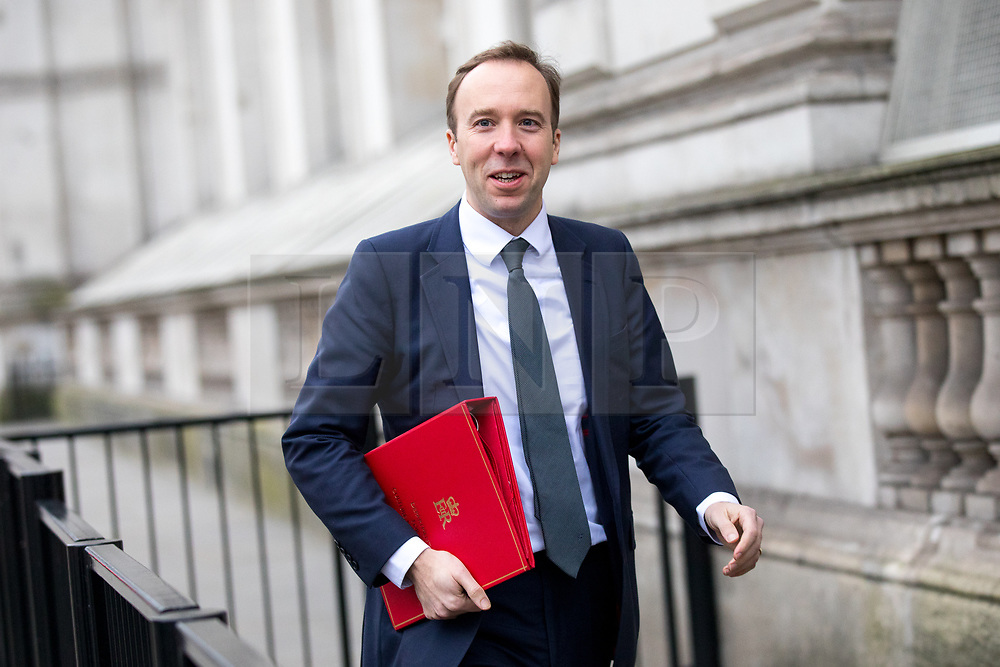 © Licensed to London News Pictures. 09/01/2018. London, UK. Secretary of State for Digital, Culture, Media and Sport Matt Hancock walking through Whitehall to attend a Cabinet meeting in Downing Street this morning. Yesterday British Prime Minister Theresa May reshuffled her cabinet, appointing some new ministers. Photo credit : Tom Nicholson/LNP