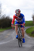 United Kingdom, Finchingfield, Mar 27, 2010:  Alan Wilkins, Bishops Stortford CC, approaches the 4 miles to go marker during the 2010 edition of the 'Jim Perrin' Memorial Hardriders 25.5 mile Sporting TT promoted by Chelmer Cycling Club. Copyright 2010 Peter Horrell.