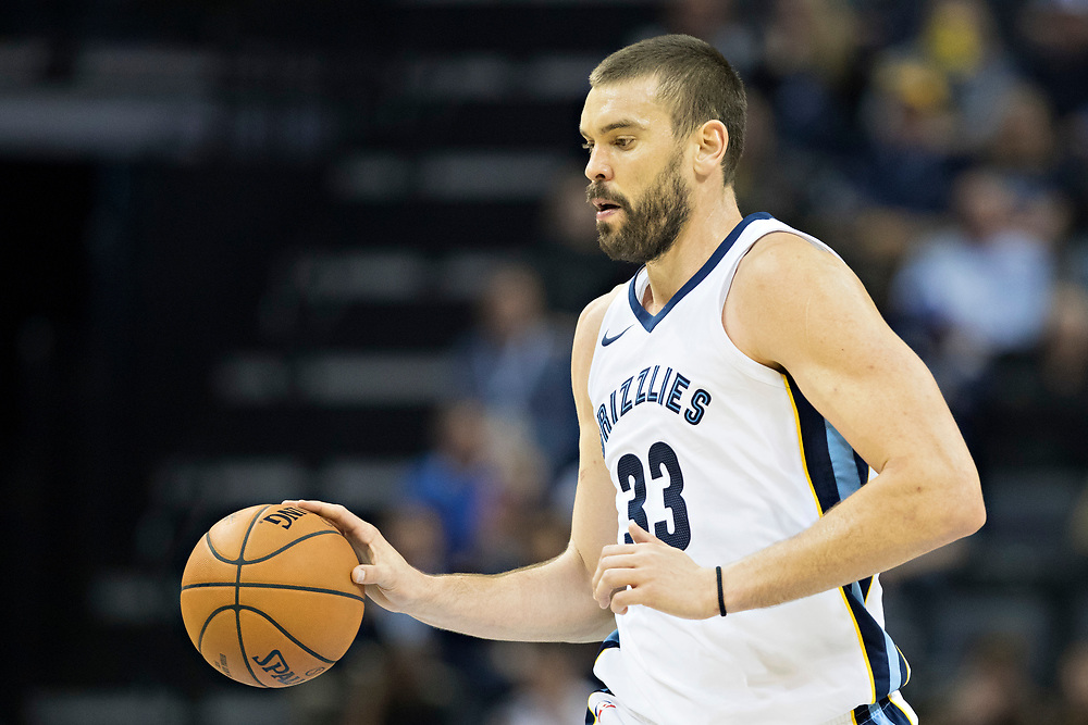 MEMPHIS, TN - OCTOBER 30:  Marc Gasol #33 of the Memphis Grizzlies dribbles the ball down the court during a game against the Charlotte Hornets at the FedEx Forum on October 30, 2017 in Memphis, Tennessee.  NOTE TO USER: User expressly acknowledges and agrees that, by downloading and or using this photograph, User is consenting to the terms and conditions of the Getty Images License Agreement.  The Hornets defeated the Grizzlies 104-99.  (Photo by Wesley Hitt/Getty Images) *** Local Caption *** Marc Gasol