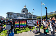 """San Francisco, USA. 26th August, 2017, the No Hate rally and protest march in San Francisco. The group gathered at Harvey Milk Plaza in San Francisco's Castro district for a rally before marching down Market Street to San Francisco City Hall. Originally planned as one of several counter protests to a previously planned demonstration by right wing group """"Patriot Prayer,"""" the counter protests in San Francisco still saw large turnouts in a show of support though the Patriot Prayer event was canceled the evening prior."""