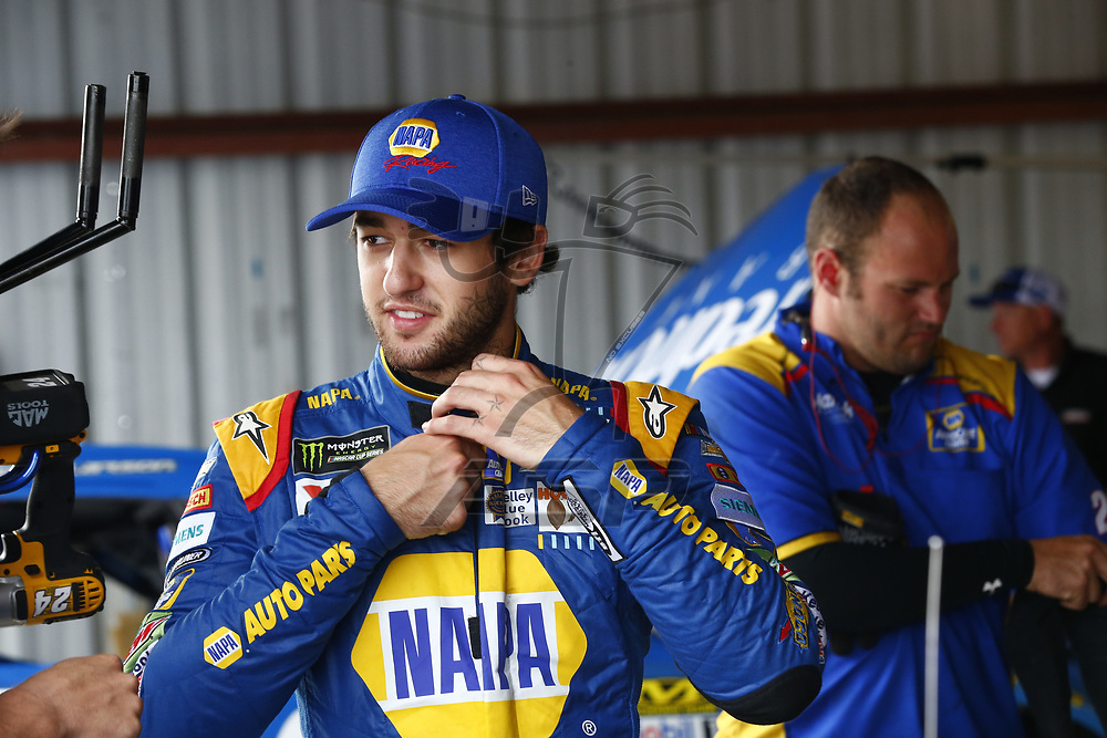 April 29, 2017 - Richmond, Virginia, USA: Chase Elliott (24) hangs out in the garage during practice for the Toyota Owners 400 at Richmond International Speedway in Richmond, Virginia.