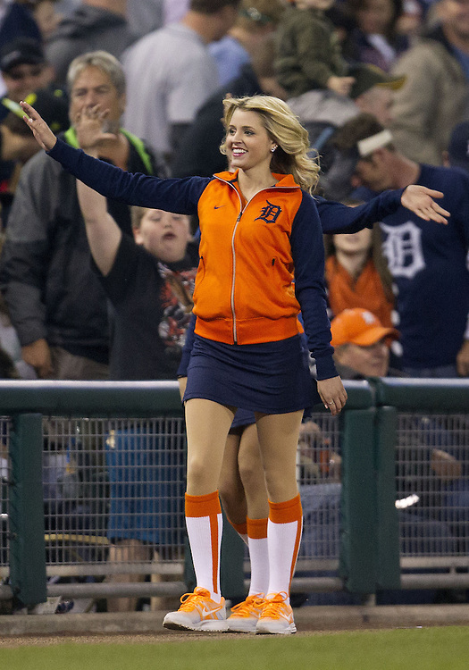 May 14, 2013:  Detroit Energy Squad member performs during MLB game action between the Houston Astros and the Detroit Tigers at Comerica Park in Detroit, Michigan.  The Tigers defeated the Astros 6-2.